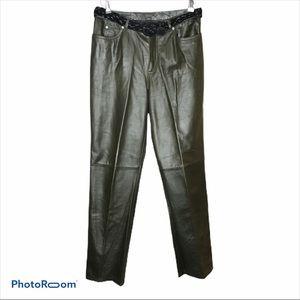 Vtg Nine West Leather Pants W/Braided Belt Sz 8
